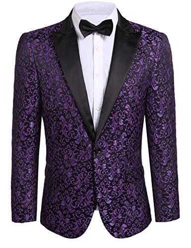 JINIDU Men's Floral Party Dress Suit Stylish Dinner Jacket Wedding Blazer Prom Tuxedo Purple
