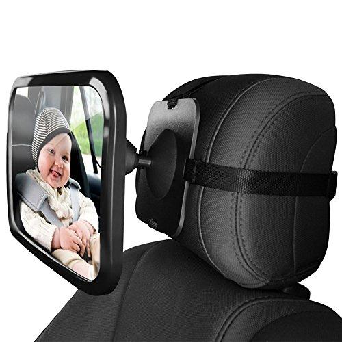 ZUOAO Espejo Retrovisor Coche Espejo de Asiento Trasero para Bebé Regulable 360 °Retrovisor para Sillitas de Bebé 24cm