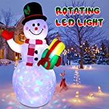 jcaeh 5ft Inflatable Snowman Christmas Outdoor Decoration,Blow up Snowman Inflatable with Rotating Built-in LED Lights for Christmas Decorations Indoor Outdoor Yard Garden Home Lawn