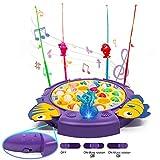 jerryvon Juego de Pesca de Mesa Educativos Juguetes con Sonido y Luz 3 Tipos de Interruptores Rotativos Coloridos Juguetes Eléctricos para Niños Niñas 3 4 5 Años