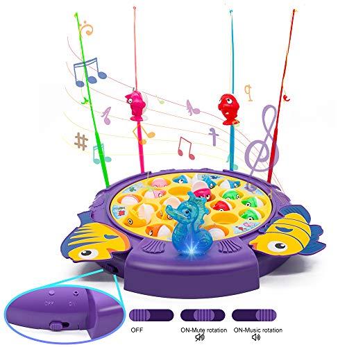 Angelspiel Fische Angeln Brettspiele Fisch Spiele ab 3 4 5 6 Jahren Musik Kinderspiele mit 21 Fische und 4 Angelrute Eltern-Kind-Unterhaltungs Kinderspielzeug Lernspiele Geschenke für Jungen Mädchen