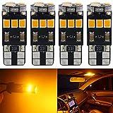 Paquet de 4 T10 194 168 921 450Lums Extrêmement Lumineux Canbus Sans Erreur LED Lumière 12 V,9-SMD 2835 Chipsets Ampoule de Remplacement De Voiture Pour W5W 168 2825 Feux de Clignotant (Jaune)