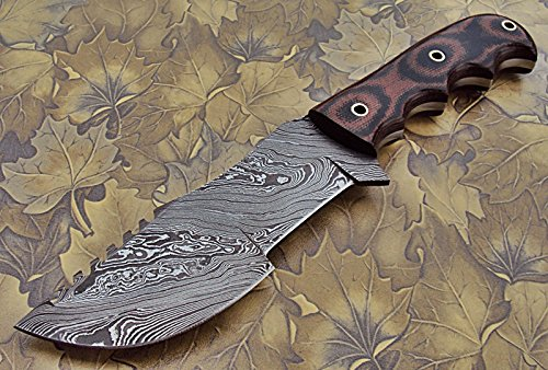 Poshland TR-80 Custom Handmade Damascus Steel Tracker Knife - Stunning Micarta Handle