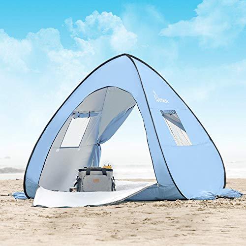 WolfWise UPF 50 Tienda de Campaña Pop up Tienda De Playa Bebe Desplegable Instantánea Refugio para el Sol Viaje Plegable y Portátil para Familia Al Aire Libre