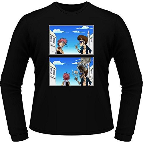 Okiwoki T-Shirt Manches Longues Noir Parodie Fairy Tail - Natsu - Hé, mec, t'as Pas du feu. (T-Shirt de qualité Premium de Taille XL - imprimé en France)