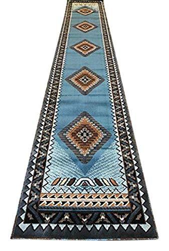 Langläufer, amerikanischer Südwest-Indianer-Teppich, Blau / Braun, Design D143