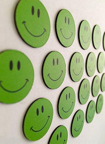 20 grüne lachende Smileys Magnete Ø 2cm / z.B. für Präsentationen, Schulungen, Projektarbeit, Unterricht.