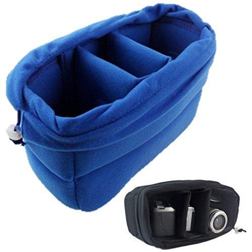 GenialES Organizador Acolchado Protector Antichoques para Cámaras SLR DSLR Bridge CSC con 4 Separadores Desmontables para Bolso Morral Azul 26*17*12cm