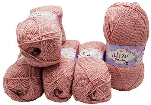 5 x 100g Strickwolle Alize Bebe einfarbig, 500 Gramm Wolle zum Stricken und Häkeln (Altrosa 315)