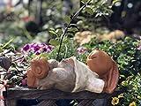 Cakunmik Kreativer Hase Statue Dekoration,Garten Kaninchen Skulptur, Harz Kaninchen Garten Ornament Garten Tier Statue Schlafen Kaninchen Garten Balkonaufteilung und Landschaftsgestaltung