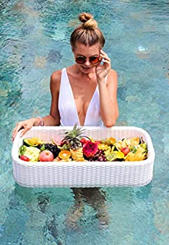 Floating Tray Luxury Floating Serving Tray Table & Bar - Swimming Pool Floats for Adults for Sandbars Spas Bath & Parties - Floating Tray for Pool Serving Drinks Brunch Food on the Water - White