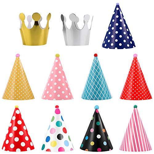 UEETEK 11pcs Pet Birthday Party Cone Paper Hats with Colorful Patterns for Pets Dogs Cats, As Shown, 26 x 16 x 0.5 cm