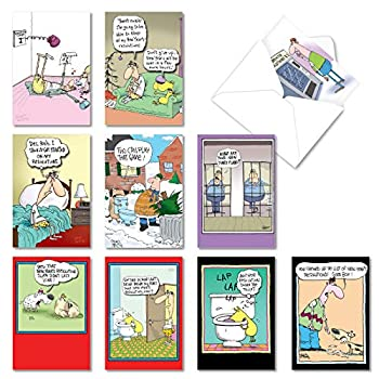 New Year s Punch Lines - 10 Assorted Box Funny New Year Greeting Cards with Envelopes Hilarious Cartoon Holiday Notecards A5639NYG-B1x10  100 Pack