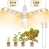 Lampe de Croissance pour Plantes, SINJIALight E27 150W Lampe Plante avec 3 ailes, 414 LEDs Lampe Horticole LED pour le Spectre Complet avec Cordon d'alimentation, pour Tous les Stades de Croissance