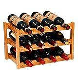 Anberotta 木製 ワインラック ワインホルダー ワイン シャンパン ボトル ウッド 収納 ケース スタンド インテリア ディスプレイ 2,3,4段から選べる W65 (12本用収納・3段/ブラウン)