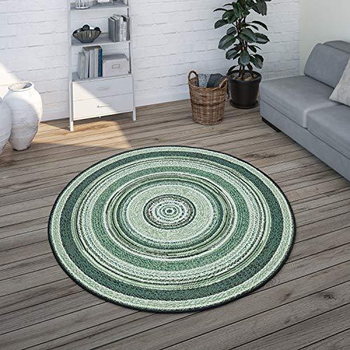 Paco Home Tapis Rond Intérieur Et Extérieur, pour Balcon Et Terrasse avec Design Ethnique, Vert, Dimension:Ø 120 cm Rond