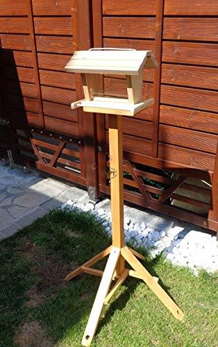 vogelhaus mit ständer BTV-X-VOFU2G-MS-natur001 NEU PREMIUM Vogelhaus mit ständer, 3D-SILO – VOGELFUTTERHAUS MIT 2 GROSSEN SICHTSCHEIBEN Qualität Schreinerware 100% Massivholz – VOGELFUTTERHAUS MIT FUTTERSCHACHT-Futtersilo Futterstation Farbe natur, Ausführung Naturholz, mit KLARSICHT-Scheibe zur Füllstandkontrolle - 2