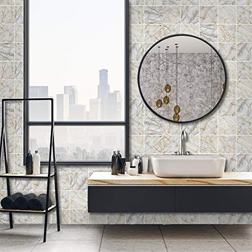 Adhesivo adhesivo para decoración del hogar, despegue y pegue las salpicaduras autoadhesivas, para sala de estar, cocina, baño, 20 cm x 20 cm x 10 unidades, adhesivo de mármol blanco y dorado