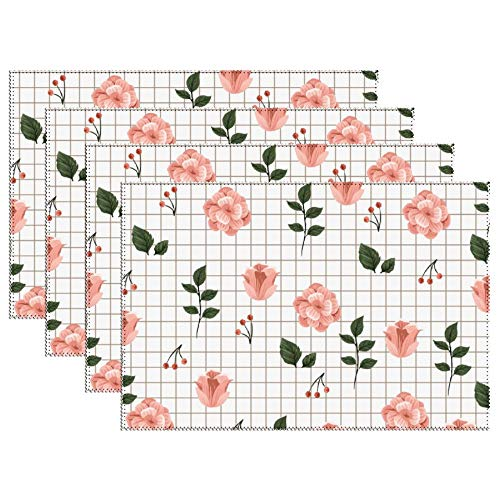 Yilooom Set of 6 Heat Resistant Stain Insulation Place Mats Anti-Skid Washable Canvas Table Placemats 12 X 18 Inch, Green Leaves Purple Blush Pink Flowers