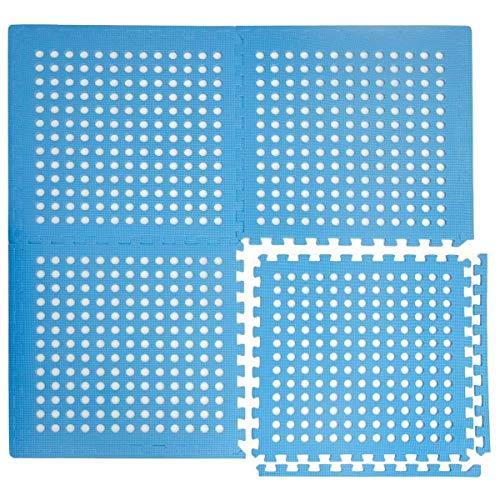 eyepower 4 x dikke Zwembadmat - 1cm Vloermat - 1,59qm Vloerfolie - Onderlaag voor Zwembad - Robuust Insteeksysteem Anti-slip