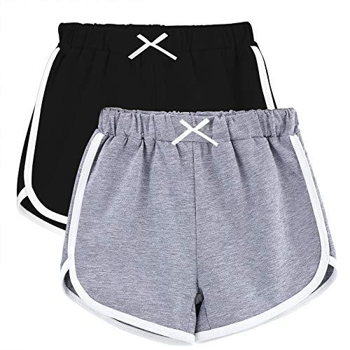 URATOT 2 Packs Girls Dolphin Yoga Short Athletic Running Short Pants Gym Workout Dance Shorts Black, Light Grey