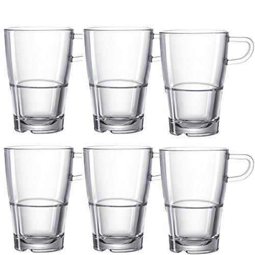 Leonardo Senso Latte-Macchiato Tasse, Kaffee-Gläser mit Henkel, spülmaschinengeeignete Glas-Becher, 6er Set, 350 ml, 024014