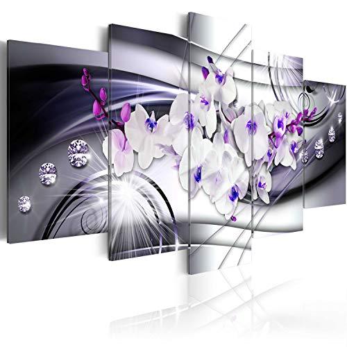 murando Acrylglasbild Abstrakt 100x50 cm 5 Teilig Wandbild auf Acryl Glas Bilder Kunstdruck Moderne Wanddekoration - Blumen Orchidee Diamant b-A-0238-k-p