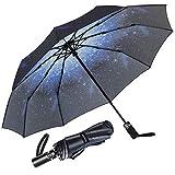 Newdora Parapluie Pliant, Parapluie Coupe-Vent & Ultra-léger, Ouverture et Fermeture Automatique, Parapluie Compact Incassable 10 Baleines pour Homme Femme Voyage (Galaxie)