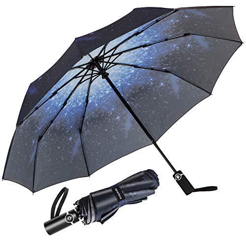Newdora Regenschirm Taschenschirm Windproof sturmfest Auf-Zu Automatik 210T Nylon Umbrella wasserabweisend klein leicht kompakt 10 Ribs Reise Golfschirm mit Trockenbeutel(Sternenhimmel)