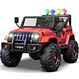 Uenjoy Electric Kids Ride On Cars 12V Battery Motorized Vehicles W/ Wheels Suspension, Remote Control, Music, Story Playing, Colorful Lights, Sunshine Model, Red