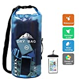 HEETA Waterproof Dry Bag for Women Men, Roll Top Lightweight Dry Storage Bag Backpack with Phone Case for Travel, Swimming, Boating, Kayaking, Camping and Beach, Transparent Blue 30L