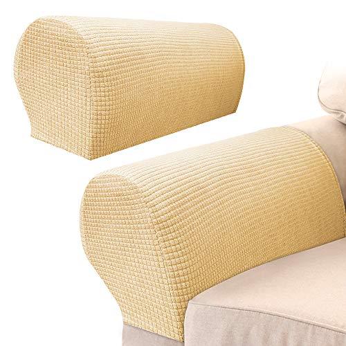 2Pcs Armlehnenschoner Sofa,Armlehnenbezüge für Sofa Elastische Universal für Sessel Abdeckung Hussen für Armlehnen von Sofa Couch dehnbares Gewebe für Möbel (Beige)