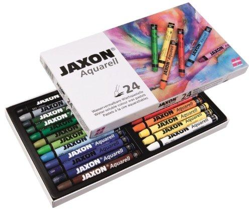 Honsell 49424 - Jaxon Aquarell Wachspastellkreide, wasservermalbar, 24er Set im Kartonetui, hohe Farbbrillanz, satter Farbaufstrich, für Künstler, Hobbymaler, Kunstunterricht