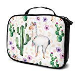 Travel Make Up Bags Plants Flowers And Lama Pattern Large Makeup Bag Cosmetic Orgainer Train Case 9.8x3.15x7.5Inch