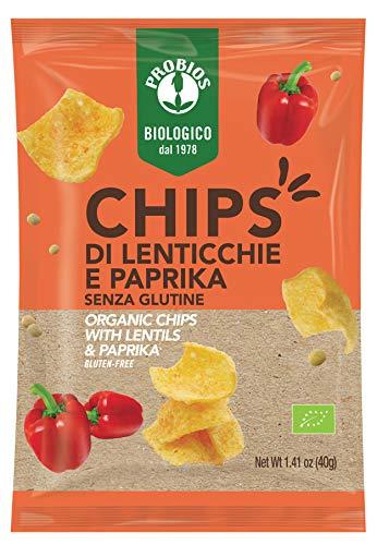 Probios Chips di Lenticchie e Paprika Bio - Senza Glutine - Confezione da 12 x 40 g