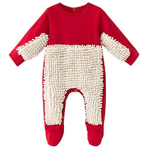 Vine Bebé Fregona Mameluco Atuendo Niñito Gatear Mono Niños Niñas Pisos Limpieza Mop Footie Traje 12-18 Meses