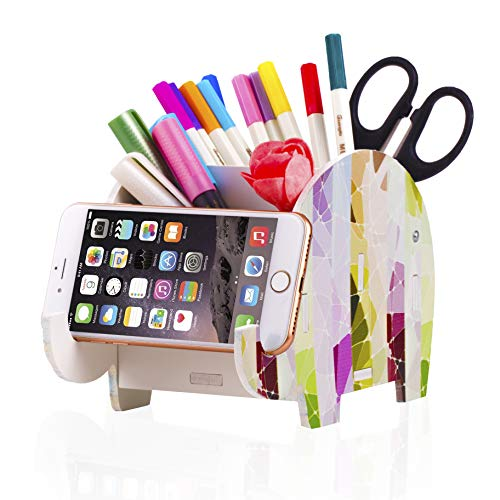 COOLOO Pencil Pen Holder Cute Elephant Phone Stand Creative Painting Desk Accessories Compatible with iPhone iPad Smartphone Decoration Multifunctional Stationery Box Organizer Bracket