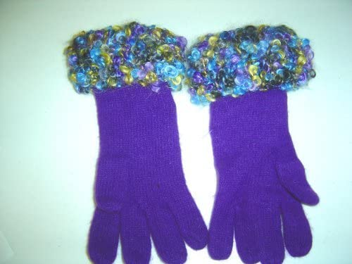 G117rl, Hand Trimmed Purple Angora Gloves with Multicolor Mohair Cuff