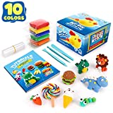 Sago Brothers Modeling Clay 10 Colors, Soft Molding Clay for Kids Air Dry Clay for DIY Slime, Ultra Light Magic Clay with Clay Tools & Tutorial Book for Boys Girls