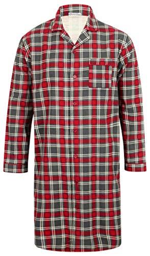 Walker Reid Herren Flanell Baumwolle Rot Karo Langarm Hemd mit Kragen Traditionelle Nachthemd Mittel