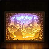 XIAJIE 3D Paper Carving Night Lamp- Papercut Light Boxes- Art Decoration Shadow Box Led Light Gift for Home Bedroom Bedside, Decorative Mood Light for Kids and Adults (Cinderella , 1 )