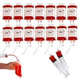 25 Packs Halloween Blood IV Bag Reusable Energy Drink Container Juice Pouch Prop Cups for Zombie Theme Party Decoration with Syringe and Clips, 12.6 fl.oz (25pcs Bag, 25 Label, 2 Syringes)