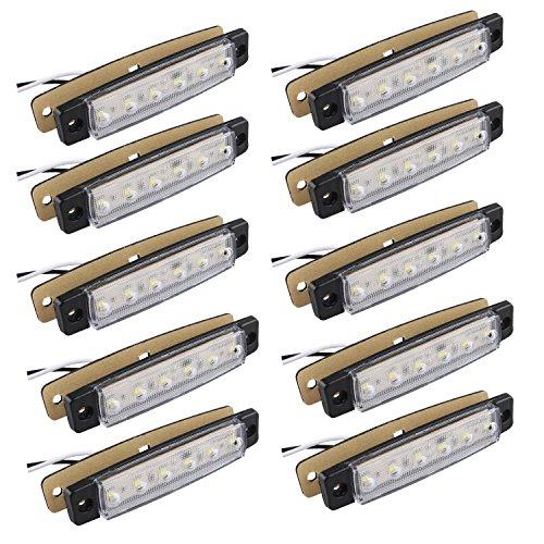 Futheda 10 Luces LED 6 SMD Blancas de 12 V para Luces de posición Delantera y Trasera para Remolque, camión, Caravana, Furgoneta, autobús, Barco, Tractor o Autocaravana