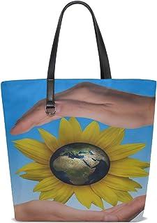 YUMOING Women Hands Protect Protection Sunflower Globe Earth Handle Satchel Handbags Shoulder Bag Tote Purse Messenger Bags