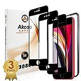 【3枚セット】iPhone SE 第2世代 (2020) / iPhone8 / iPhone7ガラスフィルム 全面保護 ガイド枠付き/ケースに干渉しない/防指紋 Akcoo(アイフォンSE 2020/7/8 用)