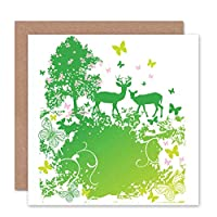 SPRING GREEN NATURE ANIMAL ABSTRACT TREES DEER BLANK BIRTHDAY CARD