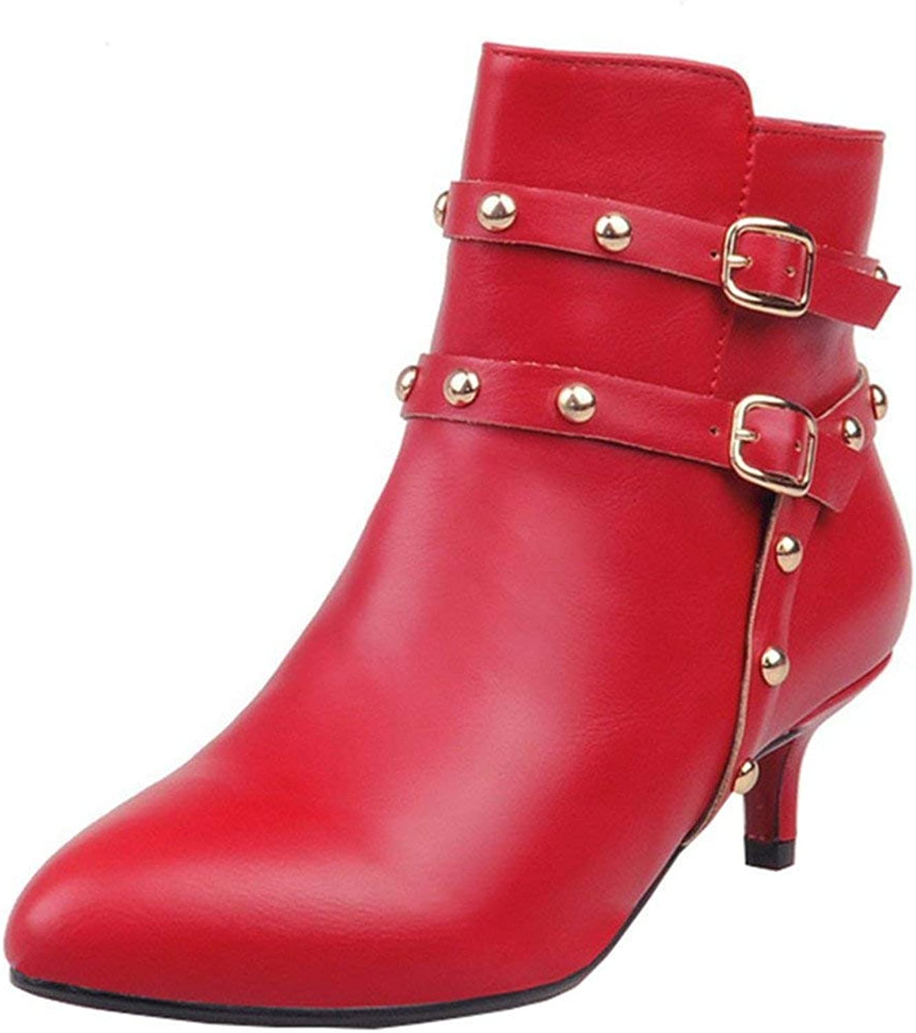 Vitalo Womens Kitten Heel Studded Buckle Ankle Boots Zip Pointed Toe Booties