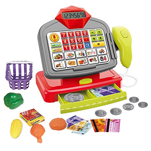 Apusulife Cash Register Calculator Pretend Play Toy for Kids with Scanner Bank Card- Supermarket Cashier Toy with Light Sound - Interactive Toy for Toddlers 3+