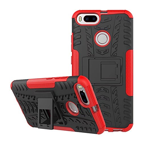 SMTR Xiaomi Mi A1 Funda, [Heavy Duty] Híbrida Rugged Armor Case Choque Absorción Protección Dual Layer Bumper Carcasa con pata de Cabra para Xiaomi Mi A1 rojo