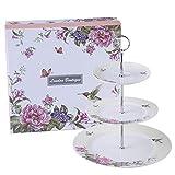 London Boutique Etagere für Nachmittagstee, Porzellan, Vogel-Rose, Schmetterling, in Geschenkbox, Beige